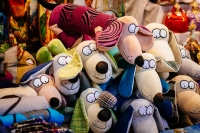 Toy dogs for sale at Tallinn's Christmas Market in the Town Hall Square.