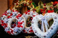 Wreaths for sale at Tallinn's Christmas Market in the Town Hall Square.