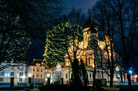 St. Alexander Nevsky Cathedral, Tallinn, at night.