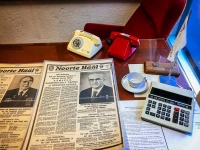 "The red phone and the ""regular"" phone in the office of the KGB listening post on the 23rd floor of the Viru Hotel."